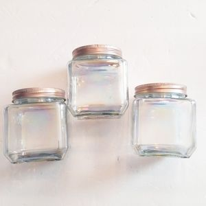 3 piece iridescent glass containers new